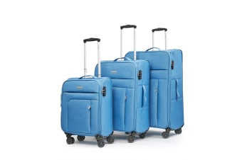 New Conwood SureLite 3pc Suitcase Luggage Set Blue Soft Trolley Bag Lightweight