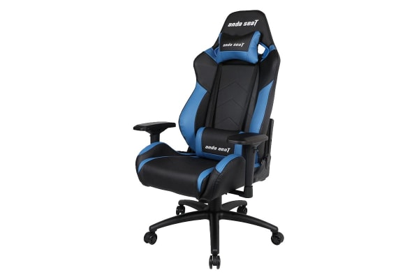 Anda Seat AD7-23 Large Gaming Chair with 4D Armrest, 60mm Casters, Premium Black Aluminium Feet - Black/Blue