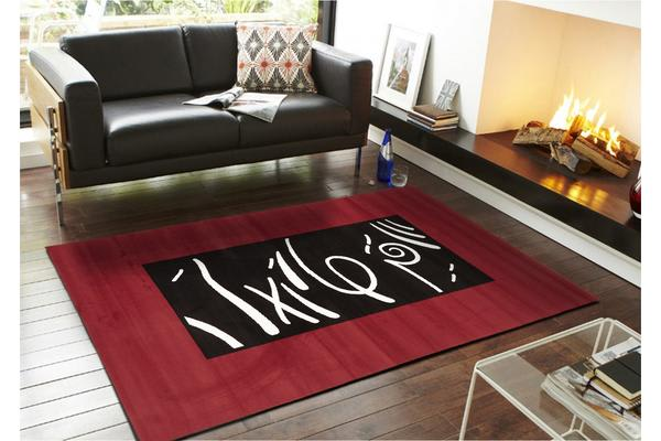 Ultra Modern Zen Rug Red Black Off White 230x160cm