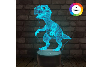 3D Night Lights for Kids Dinosaur Night Light T-Rex Illusion Lamp 7 Colors Changing