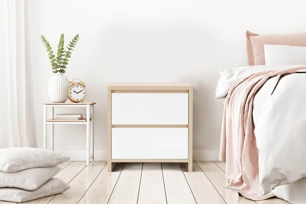 Ovela 2 Drawer Bedside Table - Bergen Collection (White & Birch)