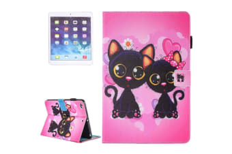 For iPad 2018 2017 9.7in Wallet Case Colorful Cat Couple Leather Cover
