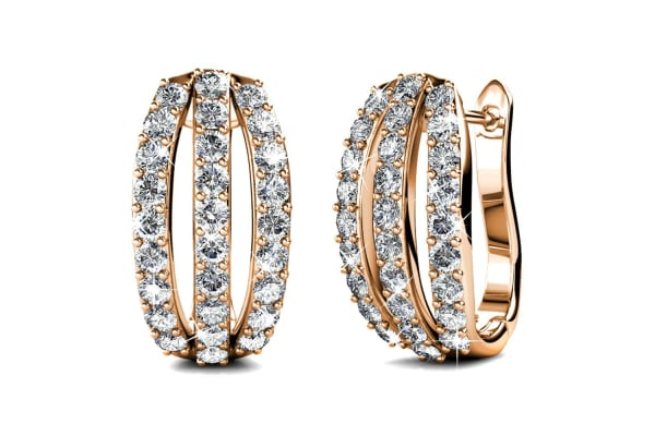 2Pr 3 Row Earrings Set w/Swarovski Crystals-Gold/Rose Gold/Clear