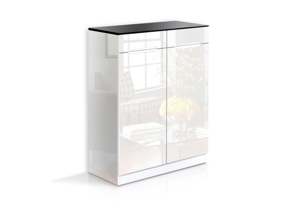High Gloss Shoe Cabinet Rack (Black/White)
