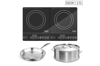 SOGA Dual Burners Cooktop Stove, 17L Stainless Steel Stockpot 28cm and 30cm Induction Fry Pan