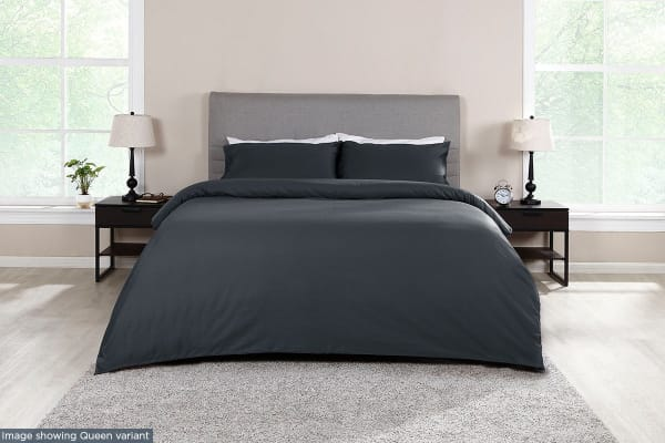 Ovela 1000TC 100% Egyptian Cotton Quilt Cover Set (Single, Charcoal)