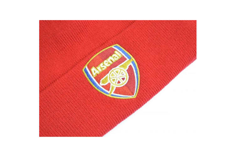 Arsenal FC Crest Knitted Turn Up Hat (Red) (One Size)