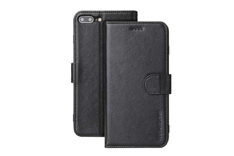newest bba58 4b153 For iPhone 8 PLUS 7 PLUS Cover iCoverLover Genuine Leather Wallet Case Black