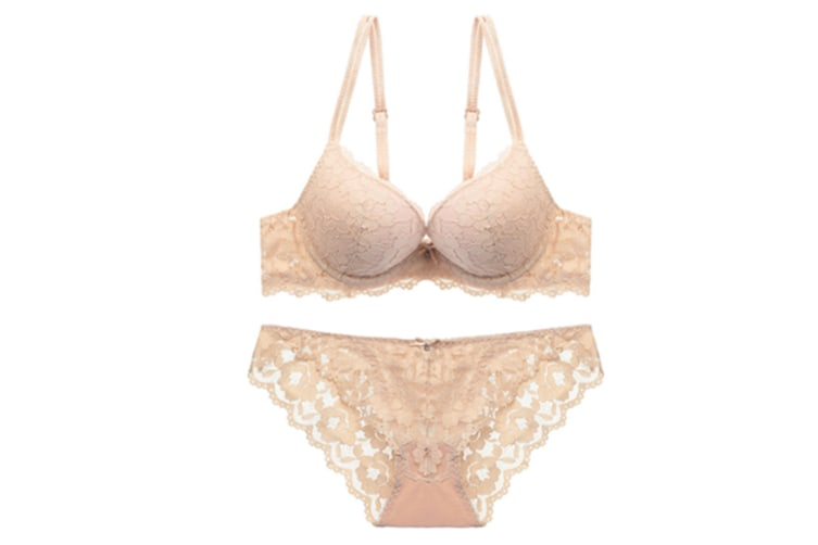 Womens Floral Lace Low Raise Underwire Push Up Bra Set Nude 80A