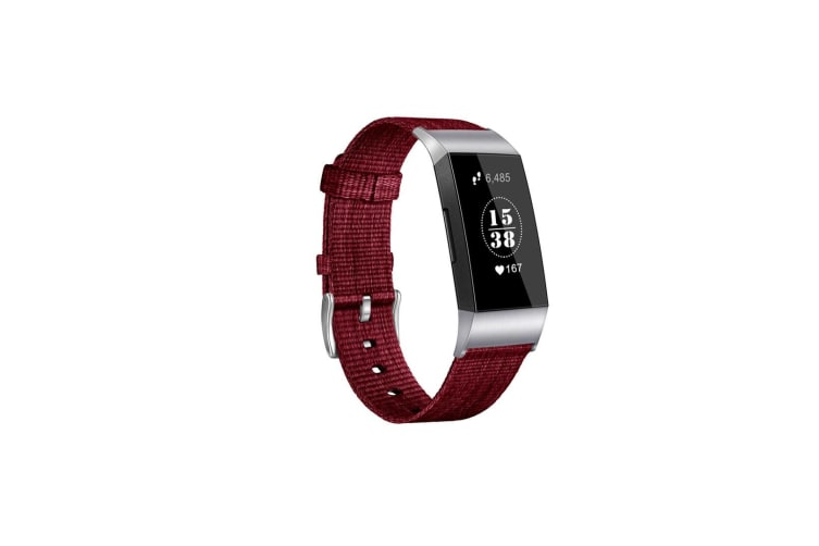 Bands Compatible With Fitbit Charge 3,Woven Fabric Breathable Watch Strap - Jujube Red Red