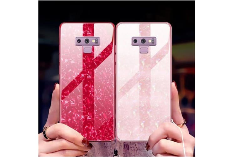 Shiny Seashell Pattern Tempered Glass Hard Back Cover Shell For Samsung Pink Samaung S9Plus