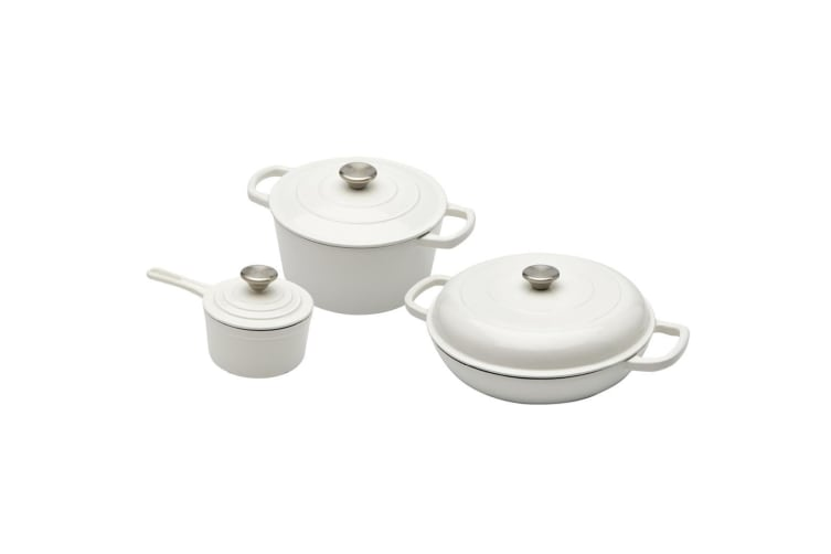 New XANTEN Cast Iron 6pcs Cookware Set White Dutch Oven Round Casserole Saucepan