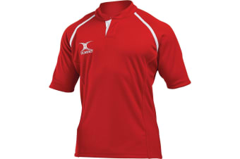 Gilbert Rugby Mens Xact Game Day Short Sleeved Rugby Shirt (Red)