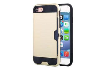 For iPhone 8 7 Case Strong Durable Protective Cover with Card Slot Gold
