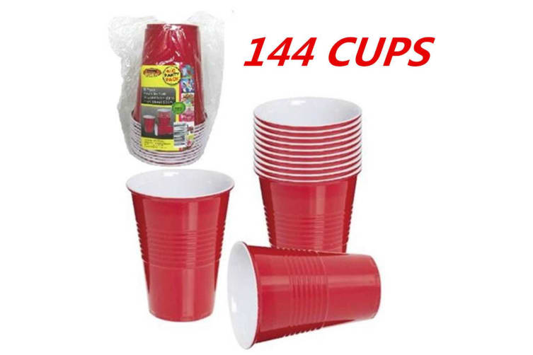 144 x DISPOSABLE 500ML 16OZ PARTY PLASTIC RED USA STYLE JUMBO CUPS CUP BEER  DRINK