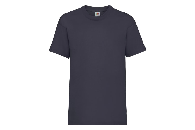 Fruit Of The Loom Childrens/Kids Unisex Valueweight Short Sleeve T-Shirt (Pack of 2) (Deep Navy) (7-8)