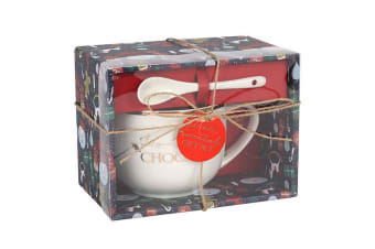 Something Different Ho Ho Hot Chocolate Mug And Spoon Set (Cream) (One Size)