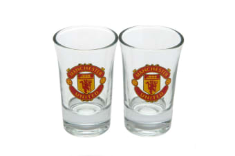 Manchester United FC Official Shot Glass Set (Pack Of 2) (Clear)