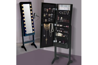 Full Length Mirror Jewellery Cabinet Makeup Storage with LED light BLACK