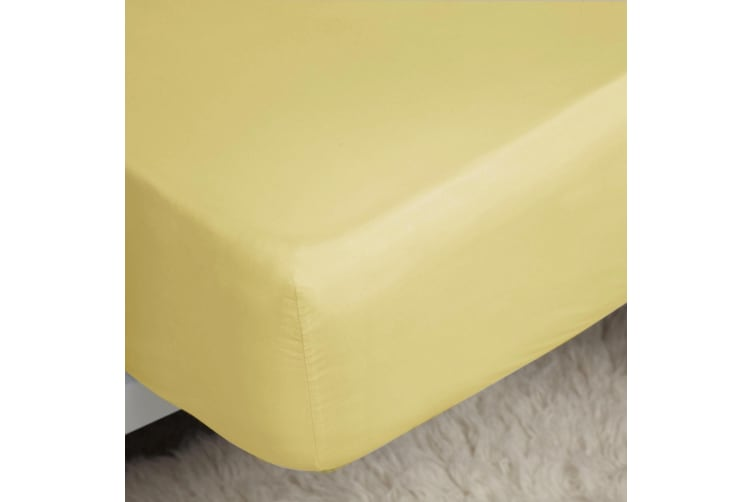 Belledorm 200 Thread Count Cotton Percale Extra Deep Fitted Sheet (Lemon) (Superking)