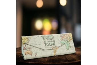 Magnetic Travel Folding Glasses Case | Map Design