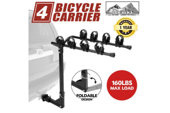 "SAN HIMA 4 Bicycle Carrier Bike Crrier Car Rear Rack 2"" TowBar Steel Foldable Hitch Mount"