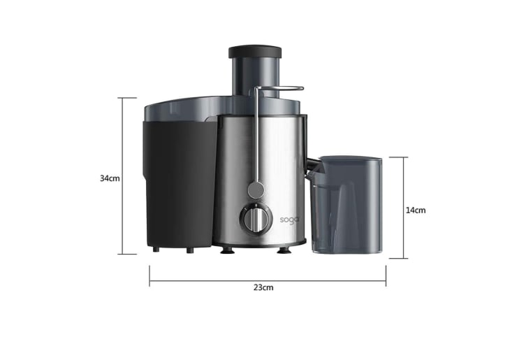 SOGA 2X Juicer 400W Professional Stainless Steel Whole Fruit Vegetable Juice Extractor Diet Silver