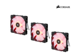 Corsair Air Flow 120mm Fan Low Noise Edition / Red LED 3 PIN - Hydraulic Bearing, 1.43mm H2O. Superior cooling performance. Three Pack!