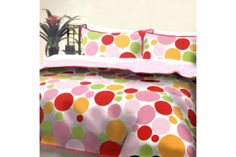 Pebbles Pink Quilt Cover Set Queen