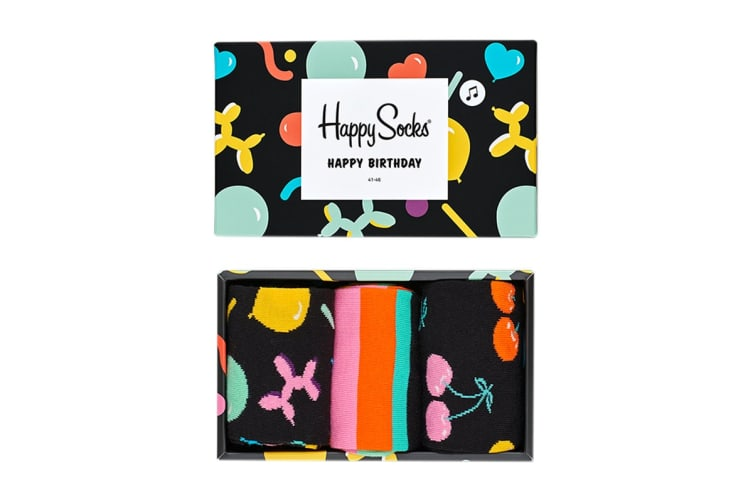 Happy Socks Balloon Animal Birthday Gift Box (Black, Size 36-40)
