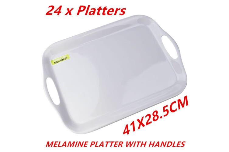 24 x Glossy White Rectangular Melamine Serving Trays w Handle Food Tray Platter 41CM