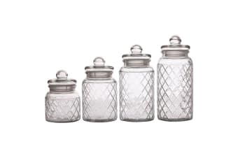 4pc Casa Domani Trellis Glass Storage Food Container Holder Jars Lid 0.65-1.5L