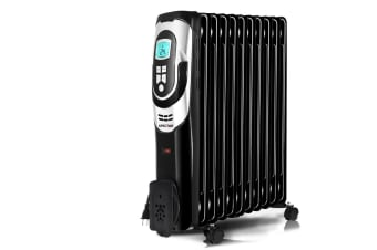 Spector Electric Portable 7 Fin Oil Heater w/24h Timer/Column/Heat/ Wheels