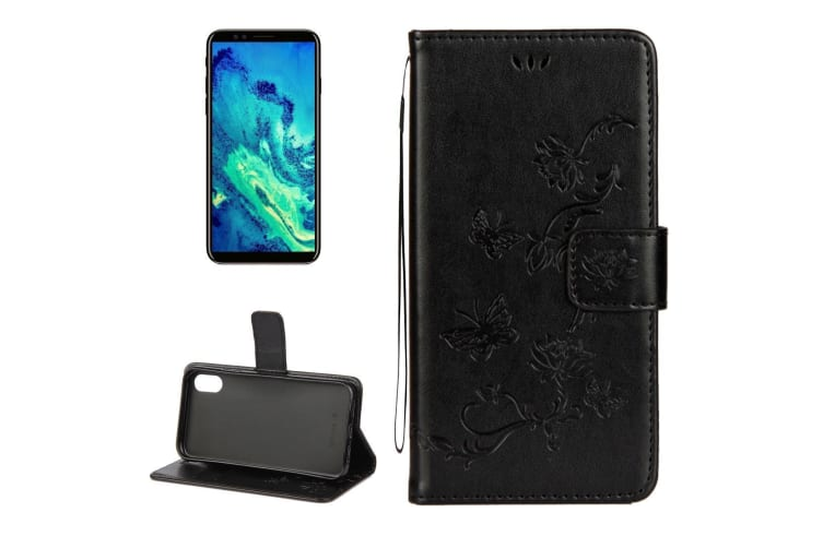 For iPhone XS X Wallet Case  Lotus Butterfly Protective Leather Cover Black