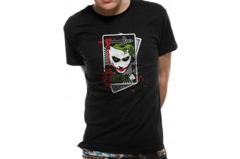 Batman Adults Unisex Joker Card Design T-Shirt (Black)