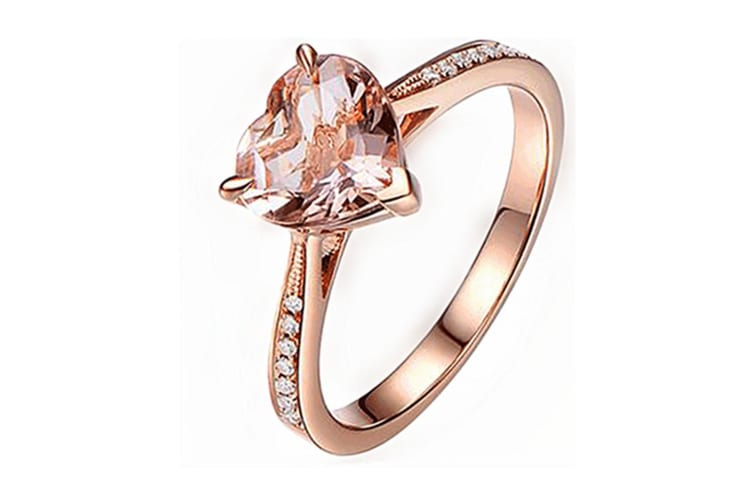Cubic Zirconia Rhodium Rose Gold Plated Bypass Heart Shape Ring 9