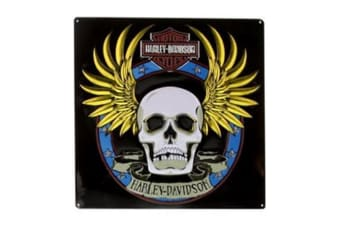 Harley Davidson Die Cut Embossed Tin Sign - Spade Skull