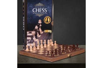 French Cut Wood Travel Chess Set   Folding Board/Case With Latch