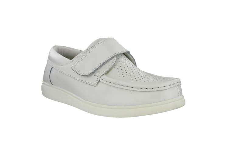 Dek Mens Touch Fastening Leather Bowling Shoes (White) (5 UK)