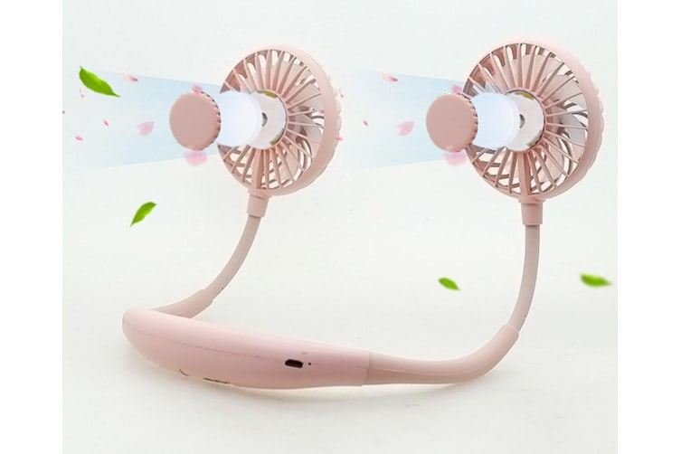 Led Lamp Aromatherapy Sports Neck Fan Usb Charging Portable Fan - Pink Pink Third Generation