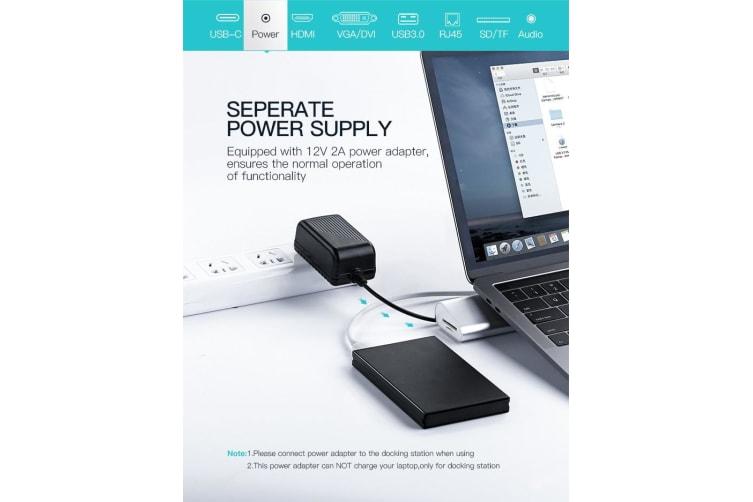 UGreen USB-C Multifuntional Docking Station Sliver 40373