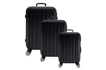 Lenoxx Hard Case Lightweight Luggage Set Of 3 - Black