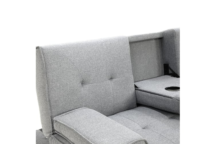 Rochester Linen Fabric Sofa Bed Lounge - Light Grey