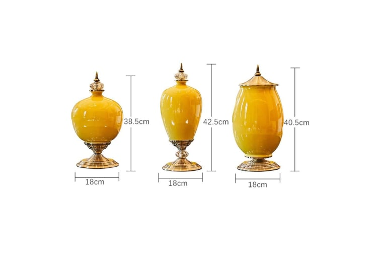SOGA 2x 38cm Ceramic Oval Flower Vase with Gold Metal Base Yellow