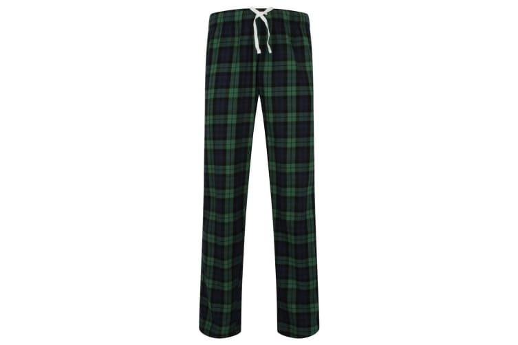 Skinnifit Mens Tartan Lounge Pants (Navy/Green Check) (M)