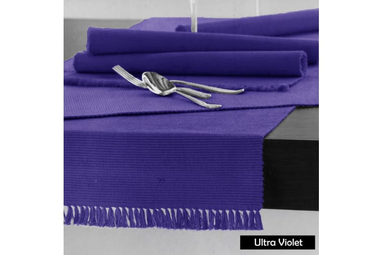Cotton Ribbed Table Runner 45cm x 150cm - ULTRA VIOLET
