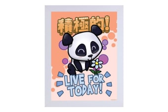 Handa Panda Live For Today White Wooden Framed Print (Multicoloured)