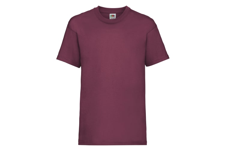 Fruit Of The Loom Childrens/Kids Unisex Valueweight Short Sleeve T-Shirt (Pack of 2) (Burgundy) (3-4)