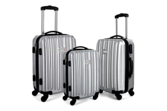 Milano Deluxe 3pc ABS Luggage Suitcase Luxury Hard Case Shockproof Travel Set - Silver