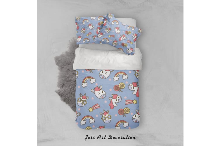 3D Blue Unicorn Rainbow Star Quilt Cover Set Bedding Set Pillowcases 40-King